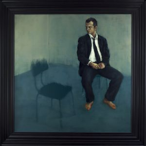 François Georget. L'homme assis. 2010. Huile sur toile. 170,3 x 170,3cm (209,1 x 209,1cm avec le cadre).
