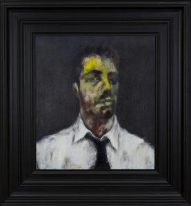 François Georget. Autoportrait 18. 2011-15. Huile sur toile. 49,3 x 43,8cm (75,3 x 69,6 cm avec le cadre).